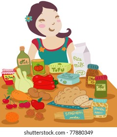 A smiling woman in front of a table set with vegan aliments.