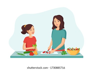 Smiling woman and girl are preparing food. Concept of a happy family, spending time together, doing home chores. Mother cuts the salad,daughter helps to cook.Vector cartoon illustration