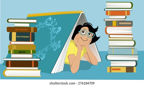 Smiling woman in glasses peeking from under a giant book, piles of different books beside her, vector illustration, no transparencies, EPS 8