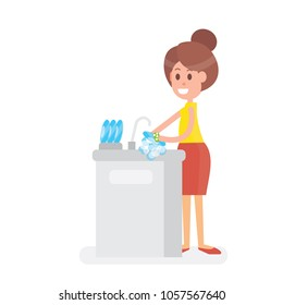 Smiling Woman housewife is washing dish - on white background
