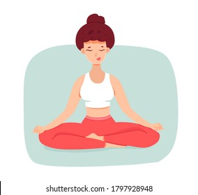 Smiling woman meditating, sitting in lotus position. Girl doing relaxation practice, person isolated on white background. Vector character illustration of body health care, mind balance, concentration