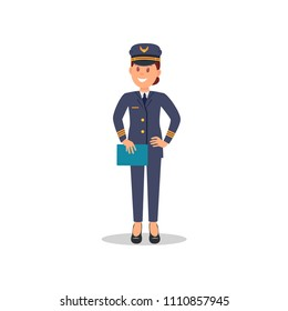 Smiling woman pilot with blue folder in hand. Captain of passenger plane. Isolated flat vector design
