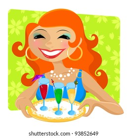 smiling woman serving cocktail drinks