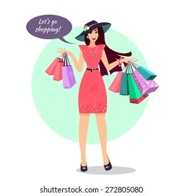 f59f84099 Smiling Woman with shopping bags. Happy shopping girl. Vector. A hand  holding shopping