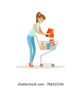 Smiling woman with shopping cart, shopping in grocery store, supermarket or retail shop, colorful character vector Illustration