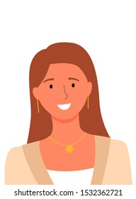 Smiling woman, userpic of online consultant or helper, female avatar isolated on white. Vector pretty long hair girl with necklace and earrings, portrait view