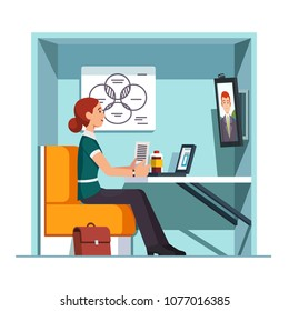 Smiling woman worker having video call in private video conference booth with chair, desk, whiteboard and big screen monitor. Corporate business online teleconference. Flat style vector illustration