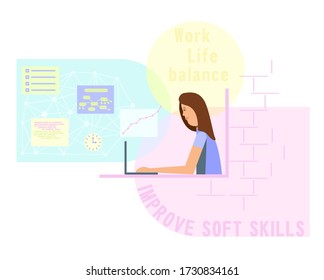 Smiling woman working or studying at home at the computer. Colored bubbles suitable for text and infographic.