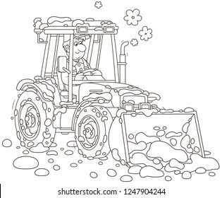 Smiling worker driving his wheeled tractor grader with a bucket and cleaning snow after snowfall, black and white vector illustration in cartoon style