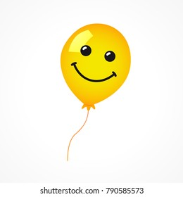 Smiling of yellow balloon on white background. Vector emoticon emoji flat smile in the yellow helium balloon