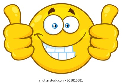 Smiling Yellow Cartoon Emoji Face Character Giving Two Thumbs Up. Vector Illustration Isolated On White Background