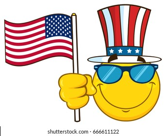 cc738ad8996a Smiling Yellow Cartoon Emoji Face Character With Sunglasses Wearing A Top  Hat And Waving An American