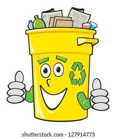 A smiling yellow cartoon recycling bin giving two thumbs up.