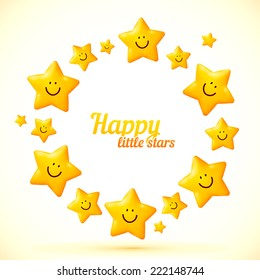 Smiling yellow cute stars vector circle frame