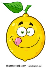 Smiling Yellow Lemon Fruit Cartoon Emoji Face Character Licking His Lips. Vector Illustration Isolated On White Background