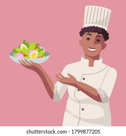 Smiling young adult black woman cook. Professional Chef. A person is holding a bowl of salad. Healthy food. Isolated flat minimal simple cute cartoon illustration