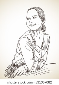 Smiling young girl looking aside, Vector sketch, Hand drawn illustration.