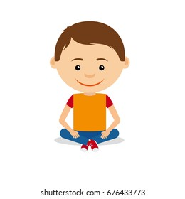 Smiling young little boy sitting on the floor, isolated on the white background. Vector illustration