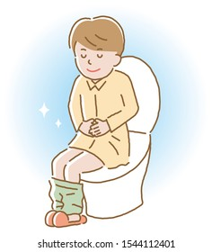 smiling young man with regular bowel movement sitting on toilet seat. Health care concept