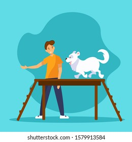 Smiling young man is training his dog. Funny pet walking on dog walk ramp in agility competition or training. Flat vector Illustration in cartoon style.
