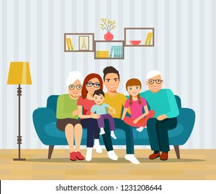 Smiling young parents, grandparents and their children on sofa in the living room. Vector flat illustration