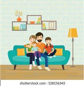 Smiling young parents and their children on sofa in the living room. Vector flat illustration