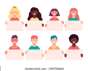Smiling young people holding empty banners. Vector illustration of group of male and female characters demonstrating empty placards. Vector illustration in flat style.