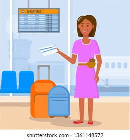 Smiling Young Sunburnt Brunette Woman Character Wearing Pink Dress Stand with Luggage and Ticket Waiting Flight in Airport Terminal Area Background. Summer Vacation. Cartoon Flat Vector Illustration.