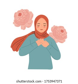 Smiling young woman with hands on chest with closed eyes and grateful gesture. Woman wear hijab modern trendy hand drawn vector.