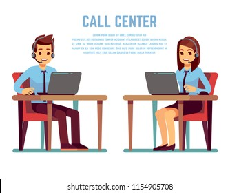 Smiling young woman and man operator with headset talking with customer. Cartoon characters for call center concept. Vector support service, online telephone consultant illustration