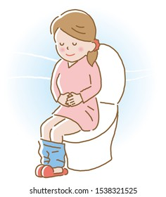 smiling young woman with regular bowel movement sitting on toilet seat. Health care concept