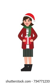 Smiling young woman in santa helper hat with gifts. a girl holding a gift. Isolated vector illustration.