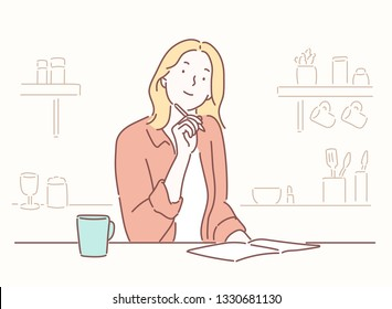 Smiling young woman studying at the table on a kitchen at home Hand drawn style vector design illustrations.