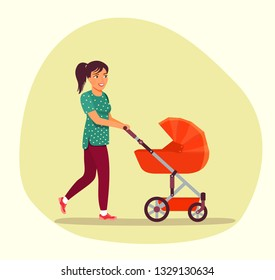 Smiling young woman walking with baby stroller isolated.