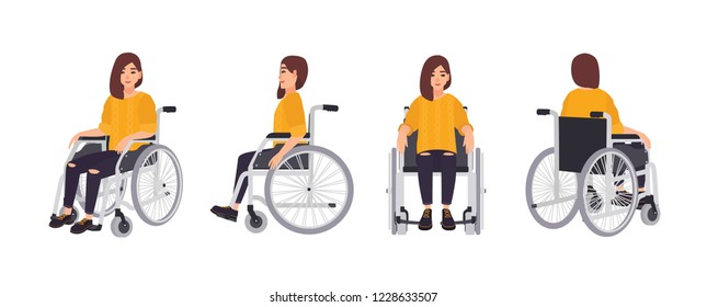 Smiling young woman in wheelchair isolated on white background. Female character undergoing rehabilitation after trauma or disease. Front, side, back views. Vector illustration in flat cartoon style.