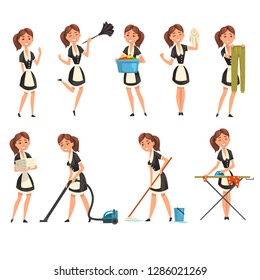 Smilling maid posing in different situations set, housemaid character wearing classic uniform, cleaning service vector Illustration