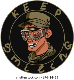 Smilling young toothless soldier guy for millitary chevron, badge for airsoft or strikeball.