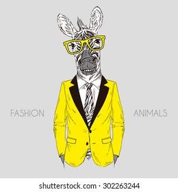 smily zebra boy dressed up in office suit, fashion animal illustration, anthropomorphic design, furry art, hand drawn graphic