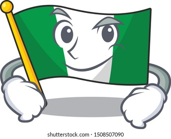 Smirking flag nigeria isolated in the character