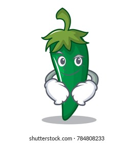 Smirking green chili character cartoon
