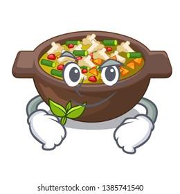 Smirking minestrone is served in cartoon bowl