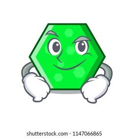 Smirking octagon character cartoon style