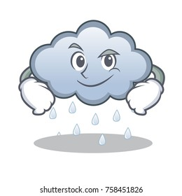 Smirking rain cloud character cartoon