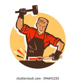 smithy vector logo design template. blacksmith or forging, forge, smithery icon