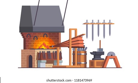 Smithy workshop interior with anvil, forge, fire bellows, grinding wheel, sledge hammer. Blacksmith workplace. Smith shop with iron equipment & tools. Flat style vector illustration isolated on white