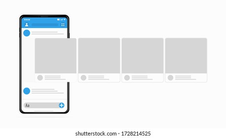 SMM concept New posts to social network are added to the phone screen Posting on social networks Smartphone with interface carousel post on social network Easily edit or add objects Vector realistic