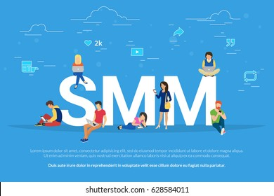 SMM concept vector illustration of people using laptops for advertising and optimizing website in social networks. Flat modern design of young men and women using mobile devices to get traction