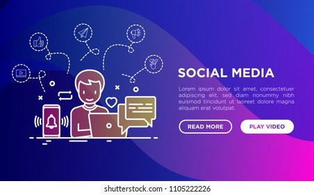 SMM manager is working with laptop with thin line icons of thumbs up, share, link, e-mail, stream, comment, notification on smartphone. Vector illustration, web page template on gradient background