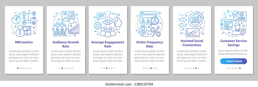 SMM metrics onboarding mobile app page screen with linear concepts. Audience growth rate. Website traffic walkthrough steps graphic instructions. UX, UI, GUI vector template with illustrations