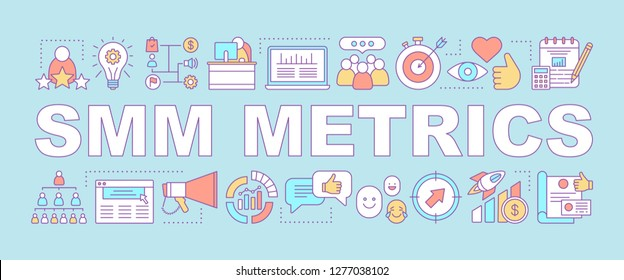 SMM metrics word concepts banner. Social media analytics. Advertising campaign. SEO statistics, ranking. Marketing. Presentation, website. Isolated lettering typography. Vector outline illustration